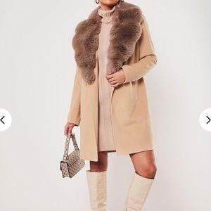 Soft faux fur collar cream tan nude jacket coat